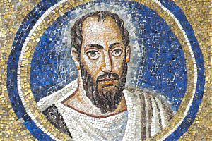 [Paulus, Mosaik-Ausschnitt, Erzbischöfliche Kapelle St. Andreas, Ravenna, um 500]