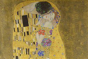 """[""""Der Kuss"""" (Ausschnitt), Gustav Klimt, 1907/1908]"""