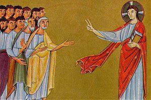 [Christus spricht zu den Jüngern (Ausschnitt) – Meister der Reichenauer Schule, ca. 1010]