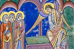 [Albani-Psalter: Ostermorgen, die drei Frauen am Grab (Ausschnitt) – ca. 1130]