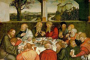 """[""""Reformationsaltar"""", St. Marien in Wittenberg – Das letzte Abendmahl, mit Luther als """"Junker Jörg"""" – Lucas Cranach d.Ä. 1547 – Wer denkt da nicht an die Zeit der »Runden Tische«?]"""
